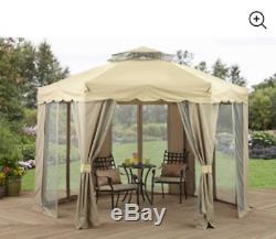 Patio Extérieur Gazebo Cour Arrière 12x12 Canopy Ombre Grande Tente De Cour Écran