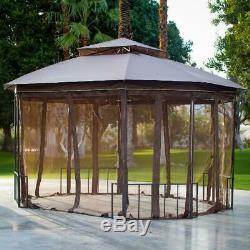 Patio Extérieur Jardin Gazebo Cadre En Acier Avec Des Rideaux 10 X 12 Pi. Brown Projeté