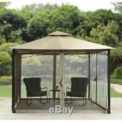 Patio Gazebo 13 × 13 Canopy Fer Abri Moustiquaire Latéral Réglable Protect