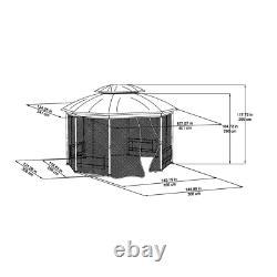 Patio Gazebo Avec Cadre En Acier Octagonal Canopy Avec Filetage Mosquito 12 Pi X 10 Pi