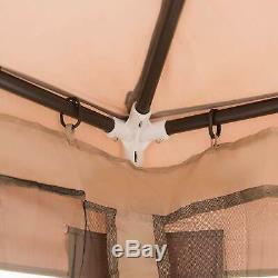 Patio Gazebo Cadre En Acier 10'x10' Moustiquaire Pluie Garde Kit Meubles De Patio