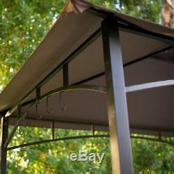 Patio Grill Gazebo En Métal 8x5 Pieds Hydrofuge Canopy 4 Leg Frame Steel Brown