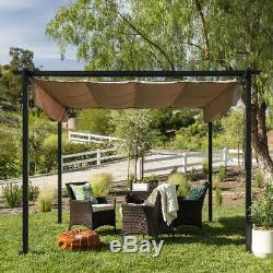 Patio Pergola 10x10ft Extérieur Gazebo Cadre En Acier Jardin Abri-soleil Tan