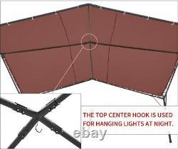 Pergola À L'extérieur Canopy Brun Lourd Gazebo 12' X 12' Tente Cadre En Acier Noir
