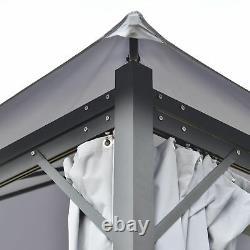 Pergola Arrière De 13' X 9,7' Avec Cadre En Acier/aluminium Et Parois Latérales En Filet, Gris