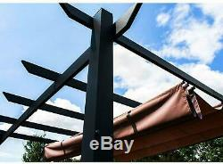 Pergola Gazebo Cadre En Acier 9x9 Pare-soleil Grand Canopy Résistant À La Rouille De Sable Noir