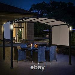 Pergola Gazebo Canopy 10'x8', Cadre En Acier, Abri Solaire Avec Rétractable