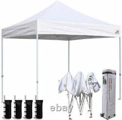 Pop Instantané 8x8 Blanc Repliant Party Canopy Désherbage Tente D'extérieur Gazebo