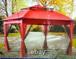 Red Luxury 11' X 11' Pop Up Steel Frame Gazebo Avec Murs Filet