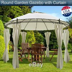 Round Jardin Gazebo Avec Rideau Extérieur Patio Auvent Tente Sun Shade Patio Jardin