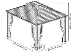 Sojag Messina Steel Roof Sun Shelter 10 X 12 Avec Filet, Nouveau Navire De L'usine