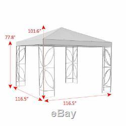 Square 10'x10' Gazebo Auvent Tente Cadre En Acier Abri Auvent Withbeige Couverture