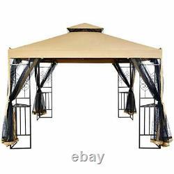 Suna Outdoor 10x10 Ft Outdoor Gazebo Steel Frame À Deux Niveaux Top Canopy Heart