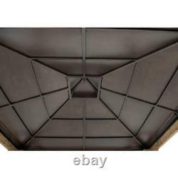 Sunjoy 11 Pi X 11 Pi Gazebo À Ossature De Cèdre Avec Toit De Hanche À 2 Niveaux Brown Steel