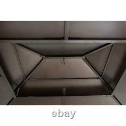 Sunjoy 13 Pi X 15 Pi Gazebo À Ossature De Cèdre Avec Toit De Hanche À 2 Niveaux Brown Steel