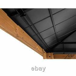 Sunjoy Bridgeport 11 X 13 Pi. Cedar Cadre Gazebo Avec Plateau Rigide En Acier, Noir