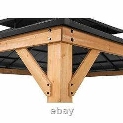Sunjoy Bridgeport 11 X 13 Pi. Cedar Cadre Gazebo Avec Plateau Rigide En Acier Noir