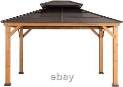 Sunjoy Chapman 11 X 13 Ft. Cedar Framed Gazebo With Steel 2-tier Hip Roof Hardto