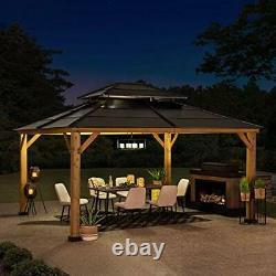 Sunjoy Chapman 13 X 15 Pi. Cedar Encadré Gazebo Avec Acier 2-tier Hip Roof Har