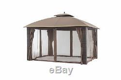 Sunjoy En Osier Gazebo Cadre En Acier 12 X 10 Gold Brown Garniture Extérieure Jardin Patio