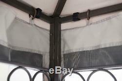 Sunjoy Gazebo Avec 10 X 12 Netting Robuste En Acier Gris Noir Extérieur Jardin Ombre