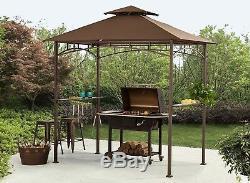 Sunjoy L-gg001pst-f 8' X 5' Soft Top Brown Double Hiérarchisé Canopy Grill Gazebo Wit