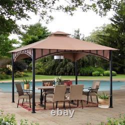 Sunjoy Patio Gazebo 11 Pi X 11 Pi 2-tier Canopy Roof Steel Frame Beige-black