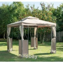 Taupe Ou Gris De Luxe En Métal À Cadre De Jardin Canopy/gazebo 2,5 X 2,5 M