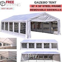 Tente Gazebo Amovible Et 32' Parois X 16' Armature En Acier Pour Des Utilisations Multiples