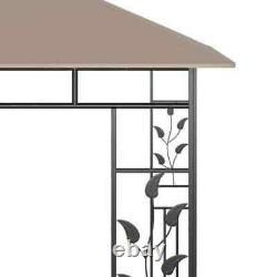 Tente Gazebo De 9,8' X 9,8' Avec Cadre En Acier Net Mosquito Extérieur Taupe