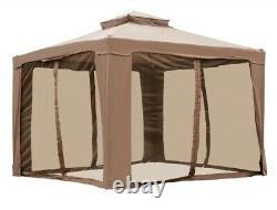 Tente Gazebo Patio Avec Filet D'insectes, Cadre En Acier Renforcé, Sacs De Sable 10x10 Pi