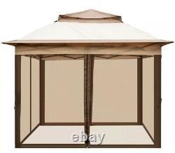 Tente Gazebo Pop-up Avec Filet D'insectes, Cadre En Acier Renforcé, Sacs De Sable 11x11ft