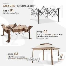 Tente Patio Gazebo 11'x11' Pop Up Avec Moustiquaire En Acier Rouille Preuve Cadre La