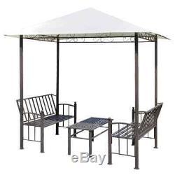 Vidaxl Pavillon De Jardin Avec Table Et Bancs D'extérieur Gazebo Abri Tente